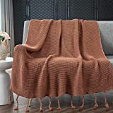 RUDONMG Knitted Throw Blanket with Fringe, Amber Color Knit Throw Blanket for Couch Bed Sofa 50' x 60'