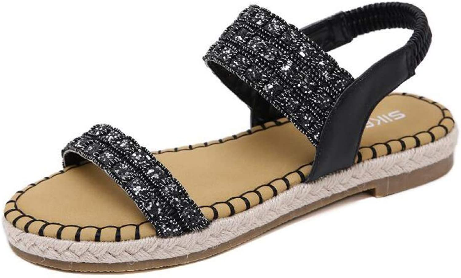 T-JULY Women's Sandals Sequined Hemp Rope Flat shoes Fashion Thick Rubber Sole Open Toes Summer Woman Slingback shoes