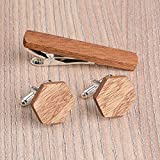 Hexagon Wood Cufflinks and Tie Clip Set. Brown African Sapele wood. Custom personalized initial monogram men gift. Engraved jewelry for men. Wedding groomsmen groom gifts. Exclusive Boss gift