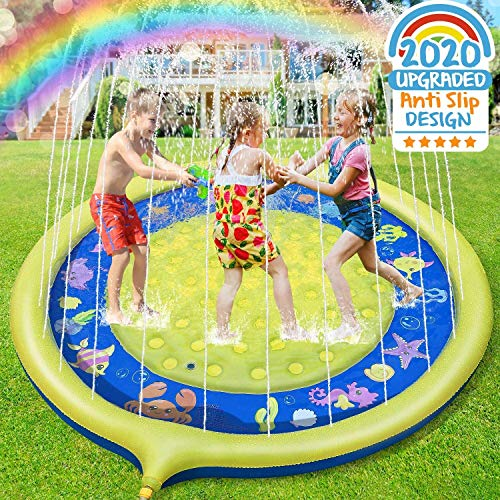 Jojoin Sprinkle and Splash Water Play Mat Non-slip Upgraded, 68 Inches...