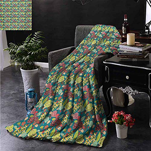 ZSUO bont deken bloemmotief met kleurrijke fantasie planten knoppen en bloesems zomer natuur kunst comfortabel zacht materiaal, geven u een geweldige slaap