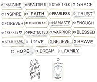 Ginooars Pack of 25 All Inspiration Words Charms 21x8mm Craft Supplies Pendants Beads Charms Pendants for Crafting, Jewelry Findings Making Accessory for DIY Necklace Bracelet- Faith/Beautiful/Trust