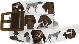 C4 German Shorthaired Pointer Dog Print Waist Belt with Brown Buckle
