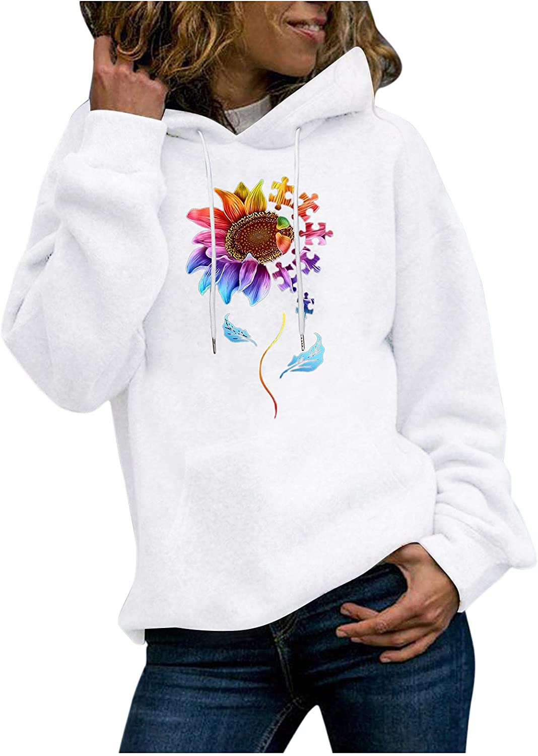 Over item handling ☆ 2021 new Eoailr Sweatshirts for Womens Casual Sleeve Long Hoodie Pullover
