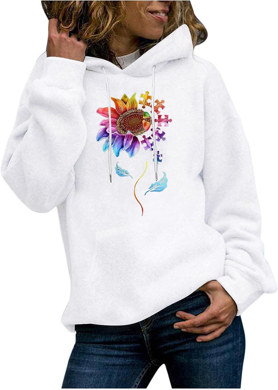 NEEKEY Women's Ultra Soft Sunflower Print Hooded Shirt Lightweight Casual Active Drawstring Pullover Hoodies Sweatshirts