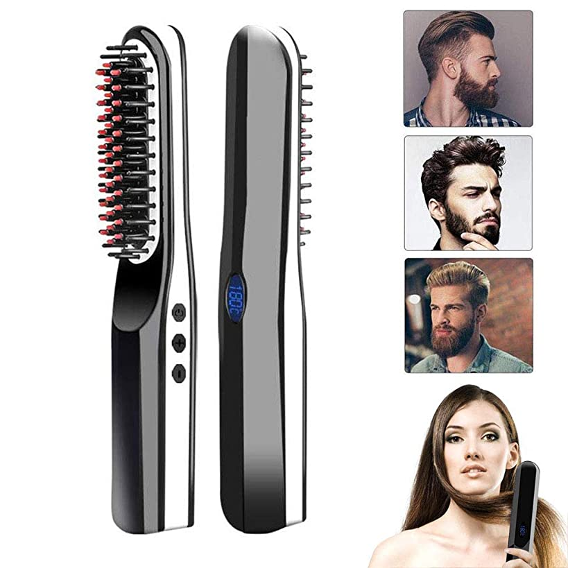 Beard Straightener Brush, lesgos New Upgraded USB Rechargeable Cordless Hair Straightening Brush, Portable Quick Styling Anti-Scald Ceramic Heat Straightening Comb for All Hair Type