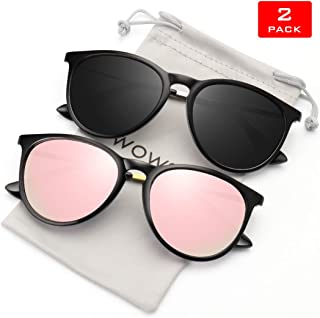 735302c23ba1 WOWSUN Polarized Sunglasses for Women Vintage Retro Round Mirrored Lens