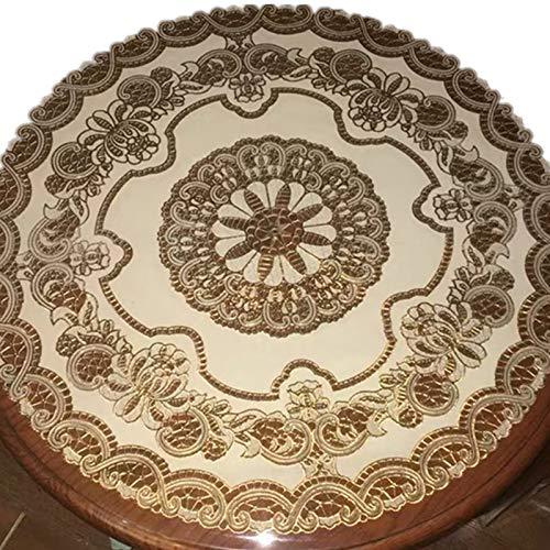 shiyueNB PVC rond tafelkleed oliebestendig wegwerp-thee-tafelkleed met bescherming tegen verbranding, rond tafelkleed 110 * 170cm (einschl Vogelbloem - geel