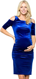 My Bump Maternity Dress Velvet - Premium Soft Stretch Cold Shoulder Baby Shower Photography Party Bodycon