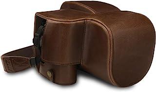 MegaGear MG1679 någonsin färdigt läderfodral kompatibelt med Leica V-Lux 5, Panasonic Lumix DC-FZ1000 II – mörkbrun