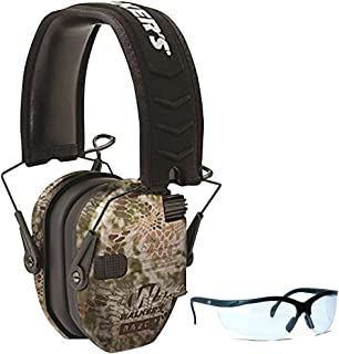 Walker's Game Ear Razor Slim Electronic Muff (Kryptek Camo) BUNDLED with Clear Lens Shooting Glasses