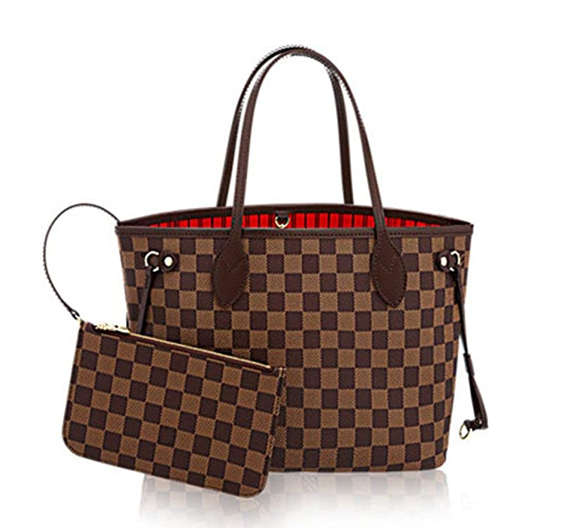Womens Classic Canvas Neverfull Top-Handle Tote Bag Large Volume Shoulder Bag (MM 32cm, damier ebene with red inside)