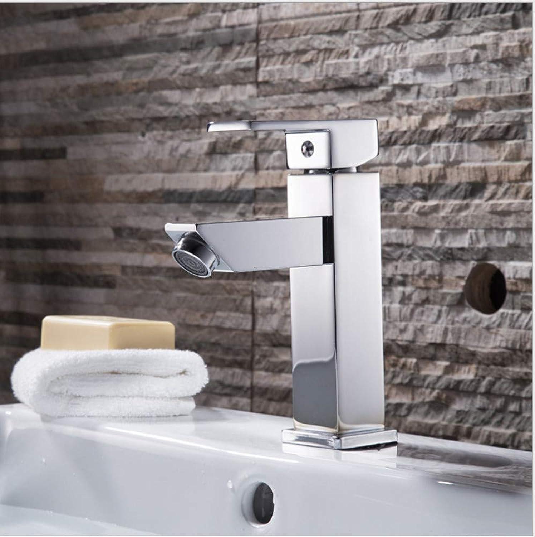 Floungey BadinsGrößetionen Waschtischarmaturen Küchenarmaturen Kupfer Quadratischen Wasserhahn Heien Und Kalten Einloch-Becken Wasserhahn Waschbecken Wasserhahn