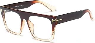 Unisex Large Square Optical Eyewear Non-prescription Eyeglasses Flat Top Clear Lens Glasses Frames