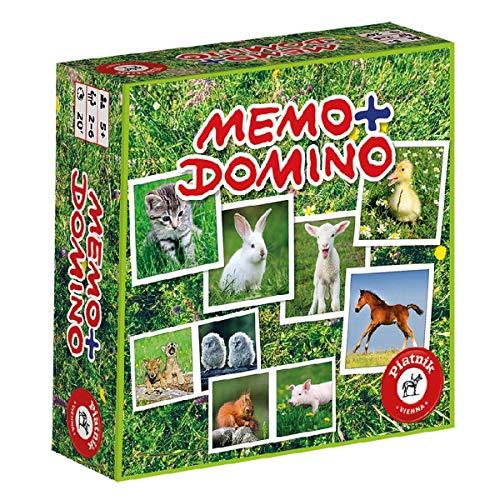 Piatnik 6595 - Kompaktspiel Memo Domino - Tierbabies