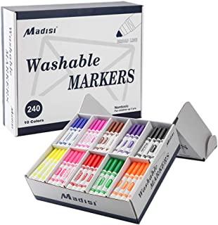 نشانگرهای قابل شستشوی مادسی ، نشانگرهای خط گسترده ، رنگهای متنوع ، بسته انبوه کلاس ، 240 تعداد