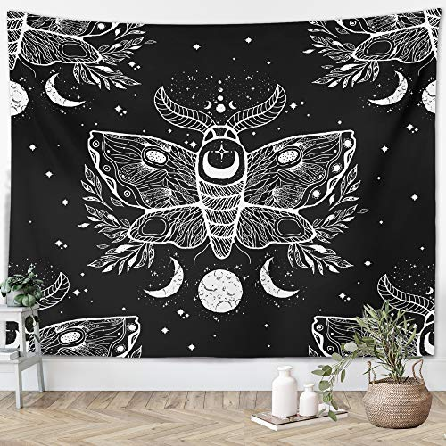 Witchy Gothic Tapestry Witchcraft Wicca Mystical Moth Moon Skulls Spooky Magic Witch Kit Black White Wall Hanging Goth Dorm Decor Witch Wall Hanging for Bedroom Living Room (Black Moth, 51'x59')