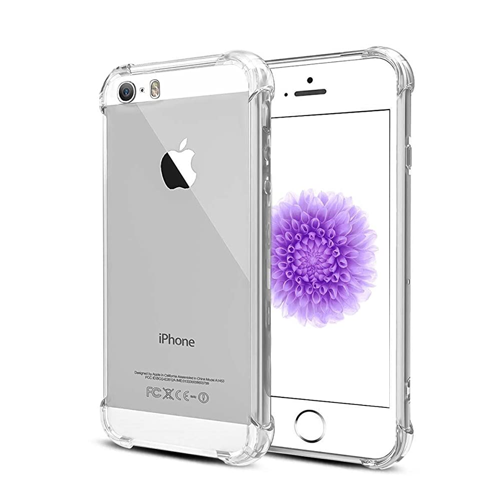 Airror Case for iPhone 5 iPhone 5S iPhone SE iPhone 5C Cases Clear, [ Four Corners Thicken Shockproof ] Ultra Thin Clear Flexible Soft TPU, Non-Slip, Protect Cover Clear Cases Slim Fit 3