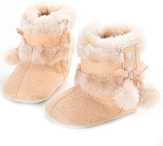myppgg Baby Boy Girl Snow Boots Infant Fuzzy Bowknot Soft Sole Ankle Booties Toddler Winter Warm Crib Shoes