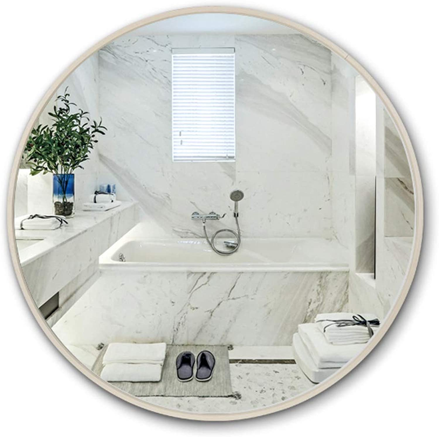 Round Bathroom Mirror Wall-Mounted Large Vanity Makeup Mirrors with Aluminum Alloy Frame, Contemporary Premium Silver Backed Floating Round Glass Panel, Floating Mirrors