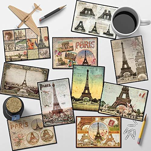 Set von 10 Postkarten vintage paris