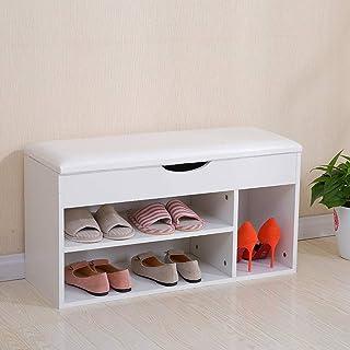 Cabinet de chaussures anti-poussière Stand de support de chaussures en bois Banc d'armoire Banc Ottoman Tabouret Chaussure...