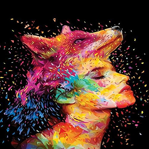 N / A Graffiti Girl With Fox On Head Abstract Canvas Painting On The Wall Art Poster And Print Picture Decoration Frameless 70x100cm