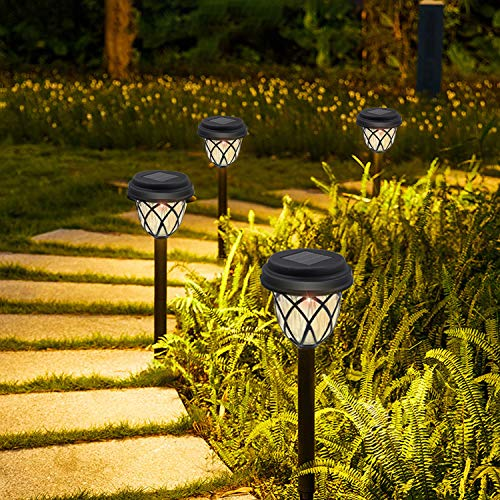 Luces solares de jardín de Senders, 6 unidades, lámpara solar de jardín de color blanco cálido para exteriores con protección IP65 resistente al agua, iluminación solar decorativa para terraza, jardín