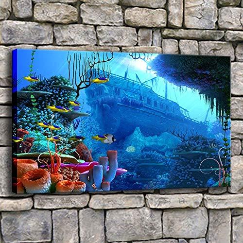 BailongXiao Leinwanddruck Poster Wohnzimmer Wandkunst Filmtiefe Unterwasser Ozean Welt Korallenfisch Malerei,Rahmenlose Malerei,60x90cm