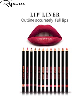 Lip Liner Filler Pencil set by Rejawece, Long Lasting Matte Waterproof Sweat-Proof Lipliner Pen Set with 12 Colors|Color Enhancer, Plumper Pencil |Define Lips for a Fuller Look | Perfec