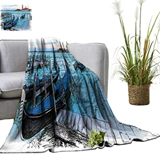 YOYI Warm Blanket Venice Italy Quay Piazza s Marco Gondolas Water isl Winter Lightweight Thermal Blankets for Couch Bed Sofa 70
