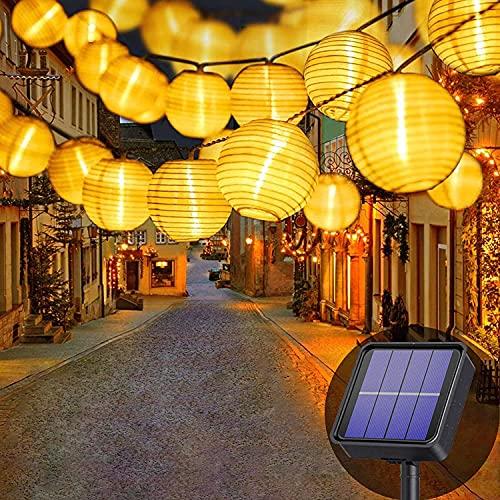 Justin - Farol solar para exteriores (8 m, 30 luces LED, 8 tipos de luces solares impermeables para decoración de jardines y patios, luz blanca cálida)