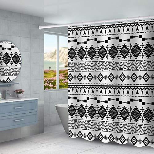 N / A Cortina de Ducha Letras inglesas y Rayas étnicas Hotel Grueso Impermeable imitación Lino baño doméstico Cortina de Ducha Impermeable A4 150x180cm