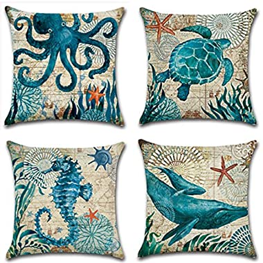 Mediterranean Style Throw Pillow Case U-LOVE Sea Theme Decorative Square Cotton Linen Cushion Cover for 18 X 18 Inch Pillow Inserts,4 pack