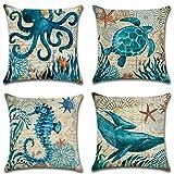 ULOVE LOVE YOURSELF Mediterranean Style Throw Pillow Case Sea Theme Decorative...