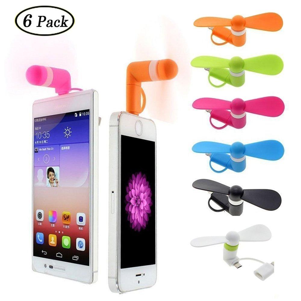 Swallowzy Mini USB Ventilador 2 en 1 portátil Ventiladores de teléfono celular Cooling Cooler para iPhone / iPad Android, paquete de 6 unidades: Amazon.es: Electrónica