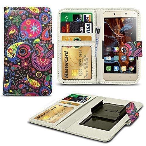 N4U Online® Verschiedene Muster Clip Serie Kunstleder Brieftasche Hülle für Gionee S5.1 Pro - schwarz Blumen Mix