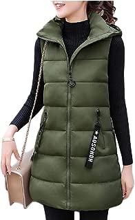 Womens Coat Down Vest Outwear Hooded Coats Long Waistcoat Jackets