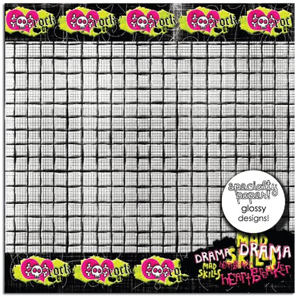Prima 840495 12 by 12-Inch Rebellious Double Sided Patterned Cardstock Paper, Crazy Skull, 25-Pack tlcsyl06395