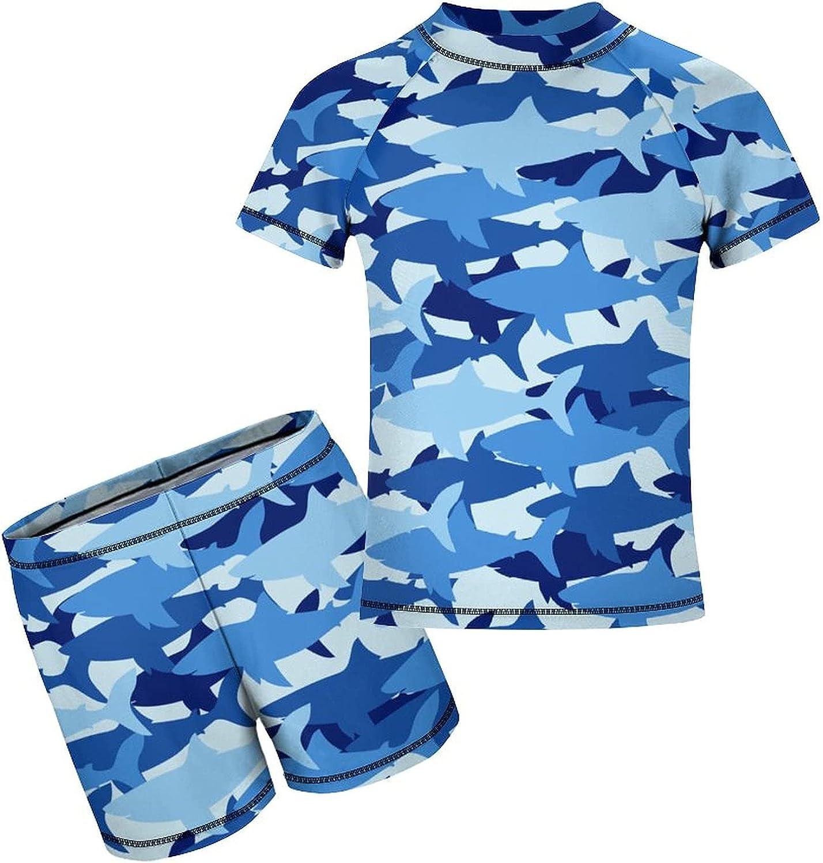 Sharks Camo 2 Piece Swim Set Rashguard Swimsuit Trunks Quick Dry Beach Bathing Suits for Teen Girls Boy 6-12Y