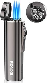 RONXS Torch Lighter, Butane Lighter in Pocket Size, Adjustable Triple Jet Flame Cigar Lighter Refillable Gas, Heavy-Duty Zinc Alloy Lighter Gift for Men(Butane Not Included)