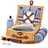 Greenstell Wicker Picnic Basket Sets for 2 Persons with High Sealing Insulation Layer,Waterproof Picnic Mat, Removable Strap and Wine Bag, Tableware, Picnic Basket for Family,Party,Outdoor,Camping