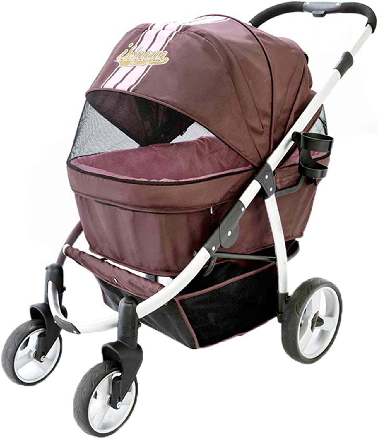 KaysaTS Luxury Pet Stroller, First Class Dog Stroller Oversized Space Foldable, Travel System, with Cleaning Pad  Brown