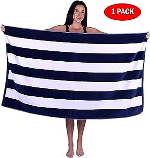 Turquoise Textile Cabana Stripe Terry Velour Bath, Beach, Pool Towel, 100% Natural Soft Cotton (1 Towel, Navy)