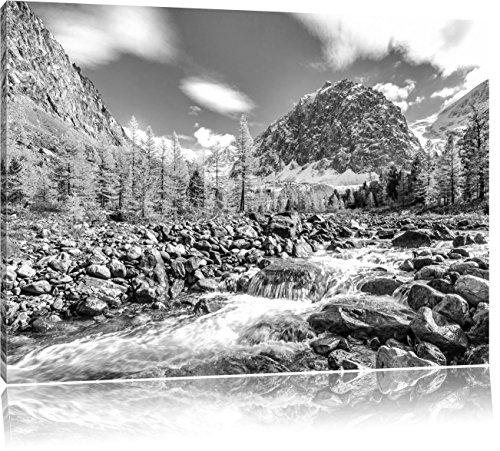 Pixxprint Fluss im Gebirge als Leinwandbild | Größe: 80x60 | Wandbild| Kunstdruck | fertig bespannt