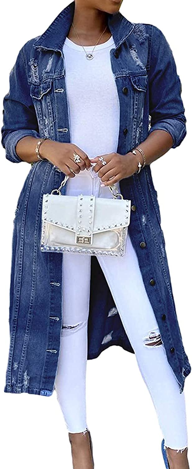 Womens Denim Jacket Long Jean Button Down Max 53% OFF Sleeve Coat Trenc Max 85% OFF