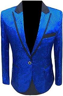 Men's Royal Blue One Button Blazer Sequined Nightclub Tuxedo Jacket Wedding Coat