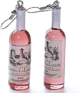 Eleusine Creative Bouteille De Vin En Forme De Dangle Rose Boucle Doreille Stud Bijoux Id/éal Cadeau Pour Filles Femmes Charme