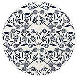 AIBILI Alfombra de Felpa para Dormitorio y Sala de Estar, diseño étnico Floral, Tinte Azul étnico, 62in(5.2ft)
