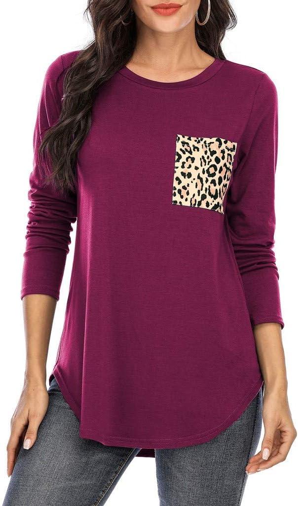 Kaifongfu Popular products Womens Shirts Plus Tulsa Mall Size Loose Leopard Long Tops Sleeve